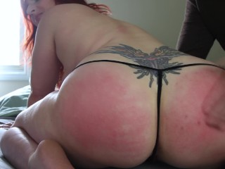 PAWG Hotwife Redhead AmberDawnXXX Spanked in G String Cock Suck Creampie
