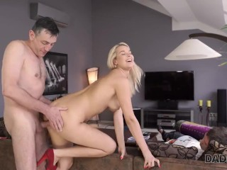 DADDY4K. Aroused chick allows old dad to analyze her in various ways