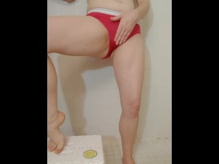 Teen babe holds it as long as she can, until she pees in her panties