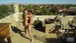 Mansion Backyard Fucking and Sucking Outdoors Cum Inside