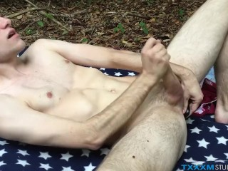 Twink pervert has solo anal play in the woods and strokes