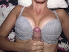 Hot Girlfriend Really Loves A Good Cumshot On Her Natural And Sexy Tits