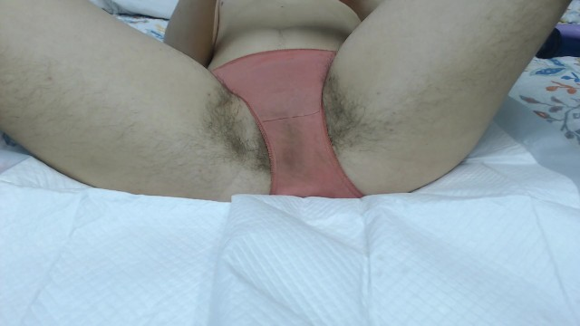 Making my hairy cunt squirt all over my panties 9