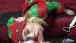 18 yo Blonde Elf w/Braces gets fucked by santa
