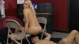 Hot Blonde Dominates A Loser in the Store - Vanessa Cage - Femdom