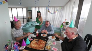 BANGBROS - Old Man Roger Is Turning 68, So We Got Him Barista Akira Shell
