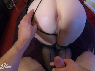 Real Dirty Amateur Wife with Big Tits doing Lube Farting Sloppy Anal - MILF