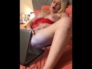 Wife makes pussy cum for private webcam husband watches. POV amateur