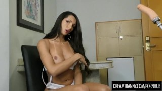 Horny Transsexual Roberta Cortes Has Her Ass Reamed by a Dildo Machine