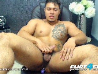 Allen Ferrer on Flirt4Free - Latino Hunk with Hairy Pubes Jerks His Cock