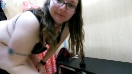 Collared slave hard dildo ride in public changing room