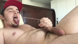 Straight Guy Moans & Cums on His Long Tongue!