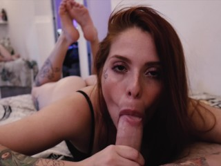 PERFECT TEEN REDHEAD SUCKING WITH CUM IN MOUTH