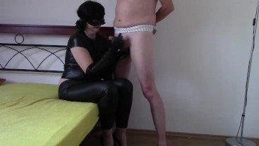 Black leather opera gloves handjob