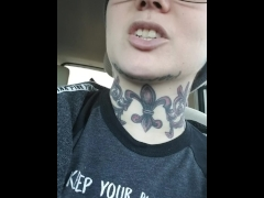 Split tongue tricks and naked in public. Tattooed milf