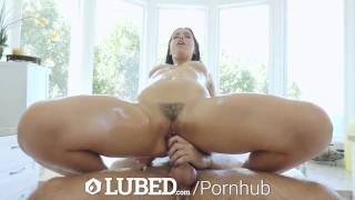 To and fuck tub leads tease waterfall lubed cumshot brunette sex