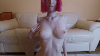 Hot amateur redhead with big tits getting fucked, cum on tits | 4K 60FPS