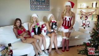 GIRLS GONE WILD - Horny Sorority Sisters Celebrate Christmas Lesbian Sex