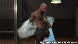RagingStallion Hairy Black Investigators Sucking Some Dick