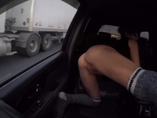 HIGHWAY SHOWOFF SHORT SKIRT NO PANTIES PUSSY EXPOSED!