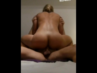 Blonde milf is riding big cock in her ass