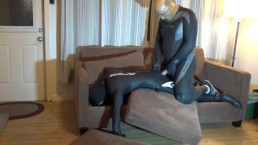 transparent masked frogman attacks orca dummy in cottage