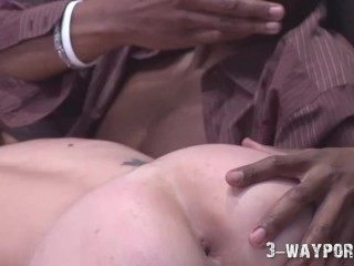 Amber Rayne in Interracial Anal A2M 3Some with BBC