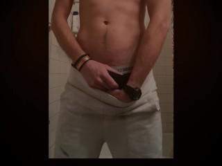 Jock pleasures himself in shower