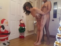 Christmas festive rough doggy style cumshot facial with Santa dogging