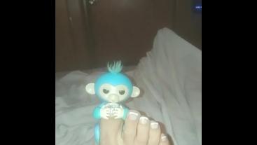 Cutest Lil Monkey Hanging On By A Toe.. Lol