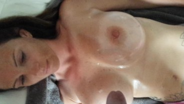 Huge Tits Girl Gets Nuts Popped on Her Huge Oiled Tits