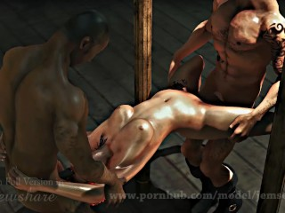 Military sexy cute girl get fucked by two...