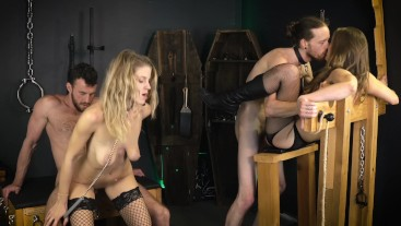 Double Couple Dungeon Sex Party with Throatpies! - Sexy Hippies & GVC