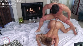 Milf gets Oiled up and Fucked -Cherie DeVille & Laz Fyre BTS