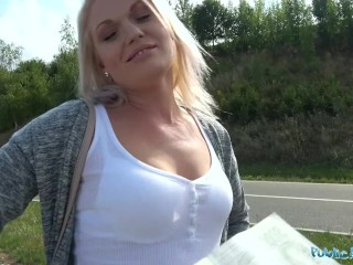 Public Agent Sexy blondes public blowjob and hot car bonnet fuck
