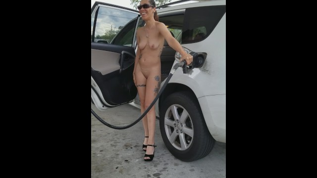 Pumping gas naked - Daring at the gas station...