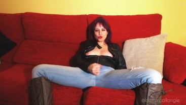 How to jerk off your dick like a macho man: leather jacket, boots and jeans