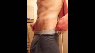 Skinny Guy Flashes Huge Cock