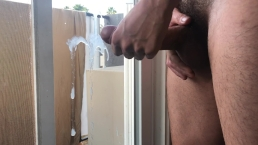 Teen wakes up horny after party and shows off massive cumshot
