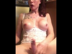 Tits out dick hard jerking off & cumshot