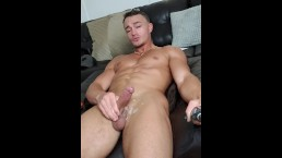Sexy stud cums all over