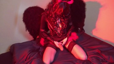 Femdom pegging angel vs devil with strapon cum creampie in his ass