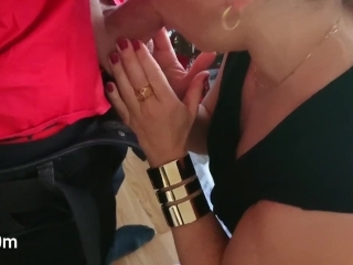 Red lipstick Christmas blowjob to completion