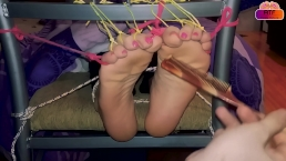Tickling nightmare for tied ticklish feet in tickle chair (gagged tickled)