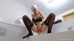 Extreme anal solo with squirt by Tanya Virago in the bathroom