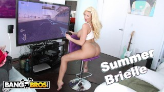 Screen Capture of Video Titled: BANGBROS - Busty Blonde MILF Summer Brielle Squirts All Over Mike Adriano
