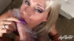 Angel Kissed Feet - MILF Gets Cum on Dirty Feet After POV Smoking Blowjob