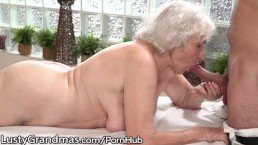LustyGrandmas Old Lady Drilled by Young Stud Masseur
