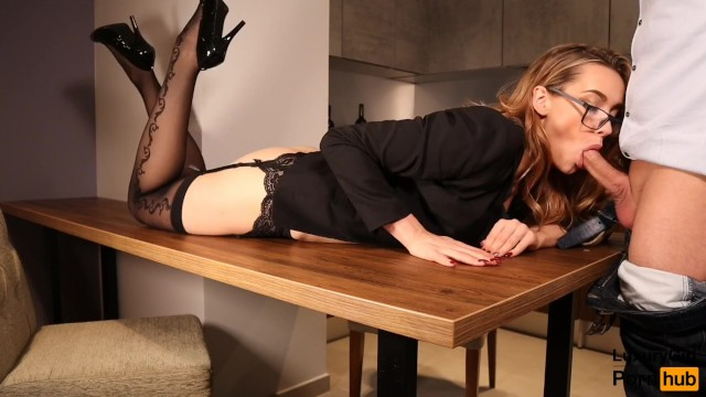Sexy seretary Sexy secretary fucked on the table. blowjob and sex in stockings glasses.