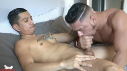 Aaron makes a move for Cesar's thick, uncut cock